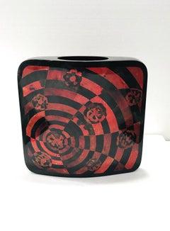 Vintage R&Y Augousti Decorative Vase in Mosaic Red & Black Pen-Shell, c. 2000