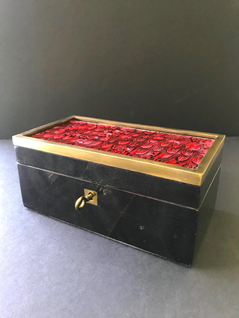 Organic Modern Vintage R&Y Augousti Jewelry Box in Mosaic Pen Shell and Exotic Red Feathers For Sale