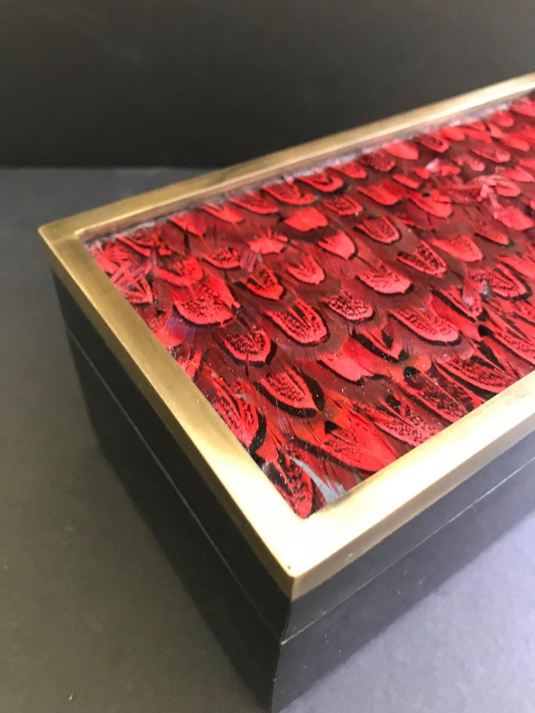 Lacquered Vintage R&Y Augousti Jewelry Box in Mosaic Pen Shell and Exotic Red Feathers For Sale