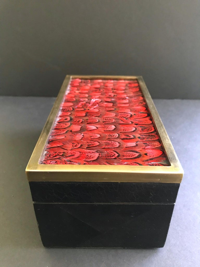 Brass Vintage R&Y Augousti Jewelry Box in Mosaic Pen Shell and Exotic Red Feathers For Sale
