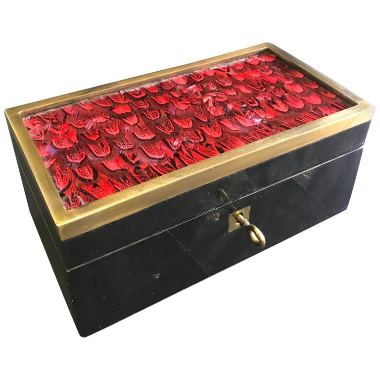 Vintage R&Y Augousti Jewelry Box in Mosaic Pen Shell and Exotic Red Feathers For Sale