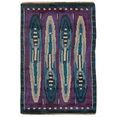 Vintage Rya Blue and Purple Handmade Wool Rug