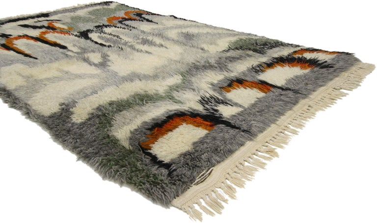 77046 Scandinavian Modern Swedish Vintage Ege Rya Rug, Danish Design Shag Tapestry. With it's abstract lunar pattern and warm earthy colors, this hand-knotted wool vintage Swedish Ege Rya rug is rich in texture and will add much needed warmth to