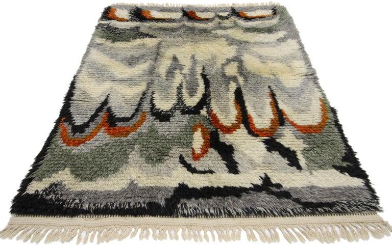 Hand-Knotted Scandinavian Modern Swedish Vintage Ege Rya Rug, Danish Design Shag Tapestry