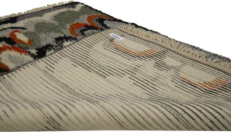Scandinavian Modern Swedish Vintage Ege Rya Rug, Danish Design Shag Tapestry In Good Condition In Dallas, TX