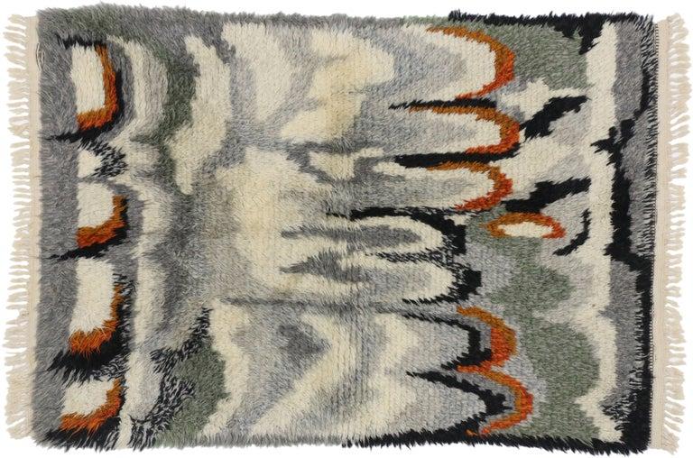 20th Century Scandinavian Modern Swedish Vintage Ege Rya Rug, Danish Design Shag Tapestry