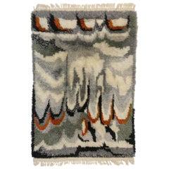 Scandinavian Modern Swedish Vintage Ege Rya Rug, Danish Design Shag Tapestry