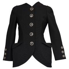Vintage S/S 1991 GIANNI VERSACE Couture Bucket Pocket Black Wool Blazer Jacket