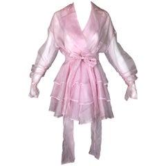 Vintage S/S 1992 Dolce & Gabbana Sheer Baby Pink Silk Ruffle Dress Jacket