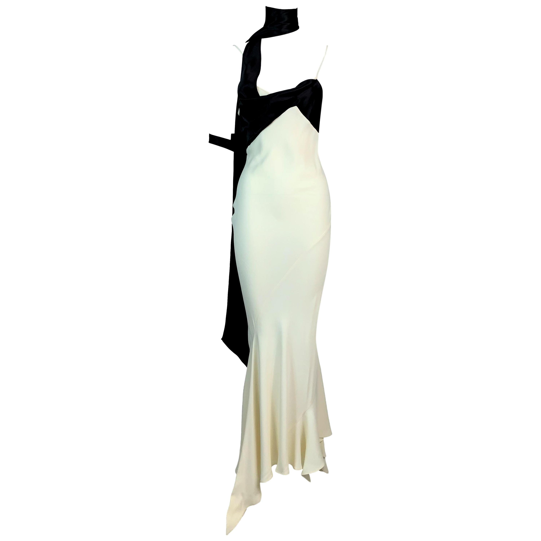 Vintage S/S 1994 John Galliano Runway Black & Ivory Satin Mermaid Maxi Dress