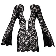 Vintage S/S 1996 Gucci Tom Ford Runway Plunging Black Lace Tunic Mini Dress