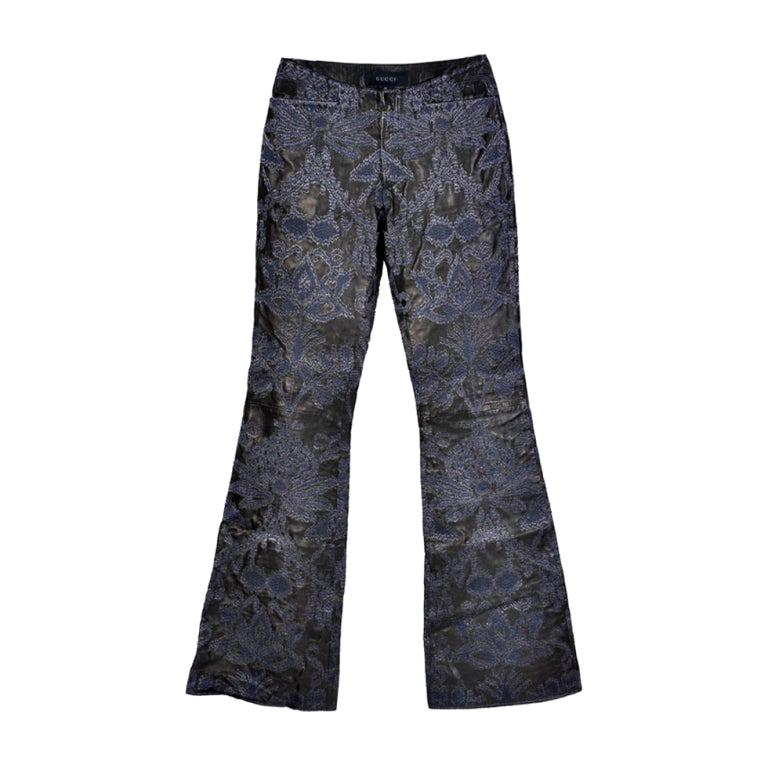 VINTAGE S/S 2000 TOM FORD for GUCCI EMBROIDERED LEATHER PANTS for MEN For Sale