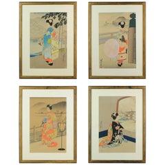 Vintage, Sadanobu III Hasegawa 1881-1963, Uchida Woodblock Prints, 4 Seasons