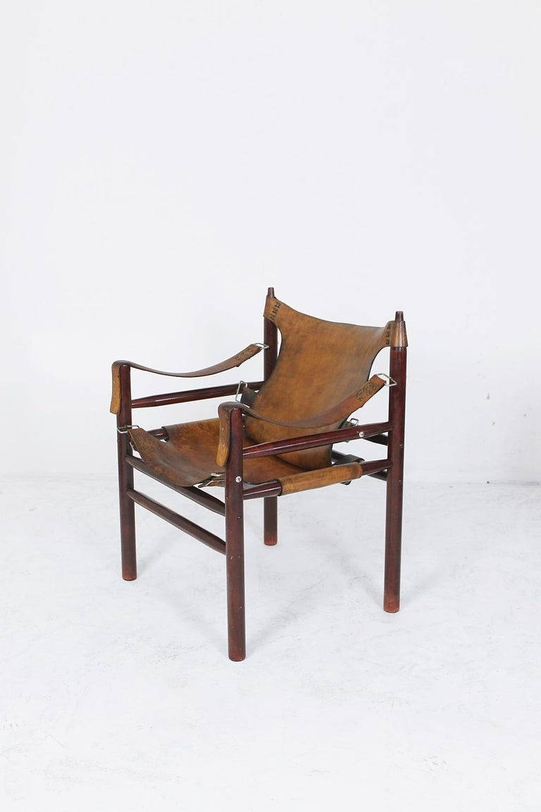Rosewood Vintage Safari Armchair in the Manner of Arne Norell 1970s Hungary For Sale