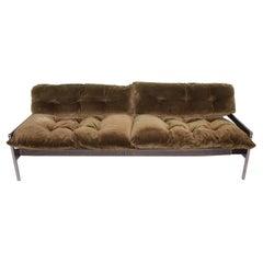 Milo Baughman Chrome Safari Sofa Lounge in Velvety Olive Green 1970s USA