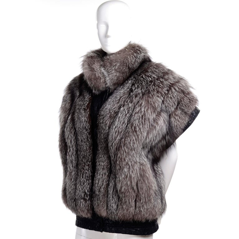 Vintage Saga Fox Gray Fur Jacket W Removable Black Ostrich Leather Sleeves For Sale 6