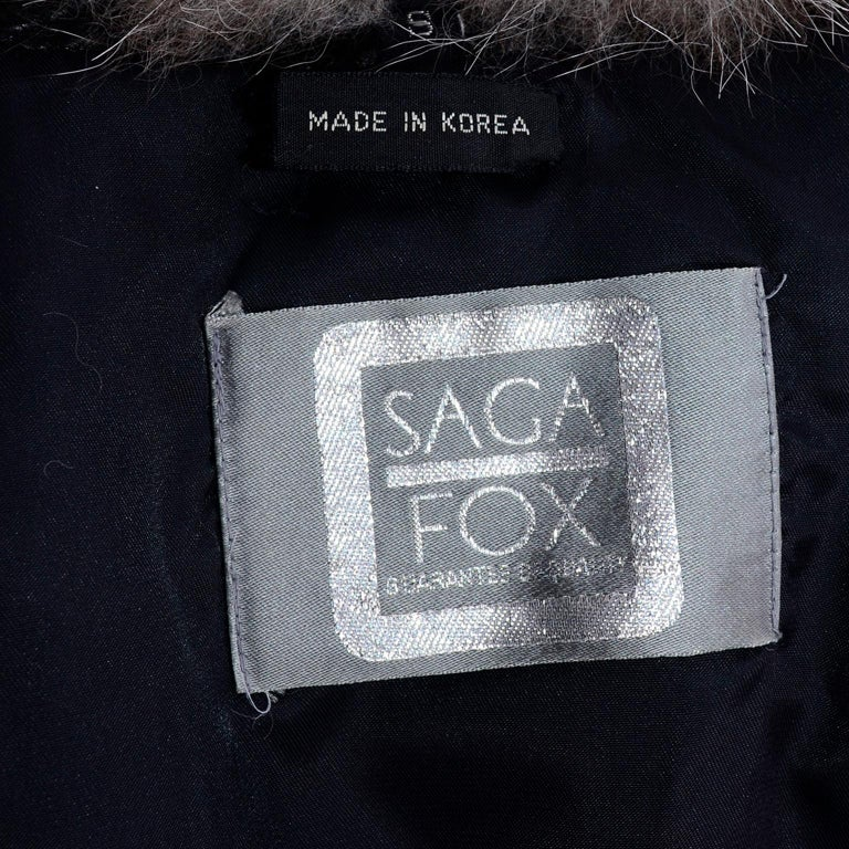Vintage Saga Fox Gray Fur Jacket W Removable Black Ostrich Leather Sleeves For Sale 9