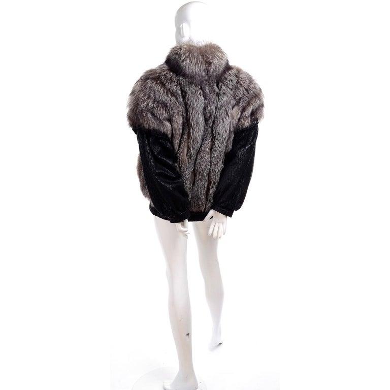 Men's Vintage Saga Fox Gray Fur Jacket W Removable Black Ostrich Leather Sleeves For Sale