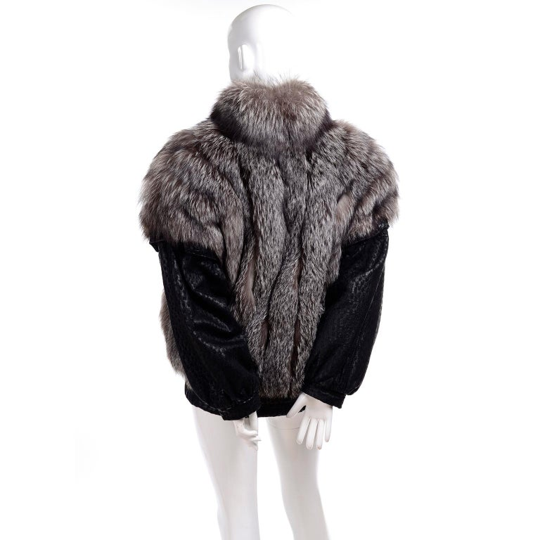 Vintage Saga Fox Gray Fur Jacket W Removable Black Ostrich Leather Sleeves For Sale 1