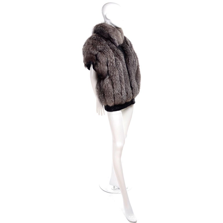 Vintage Saga Fox Gray Fur Jacket W Removable Black Ostrich Leather Sleeves For Sale 2