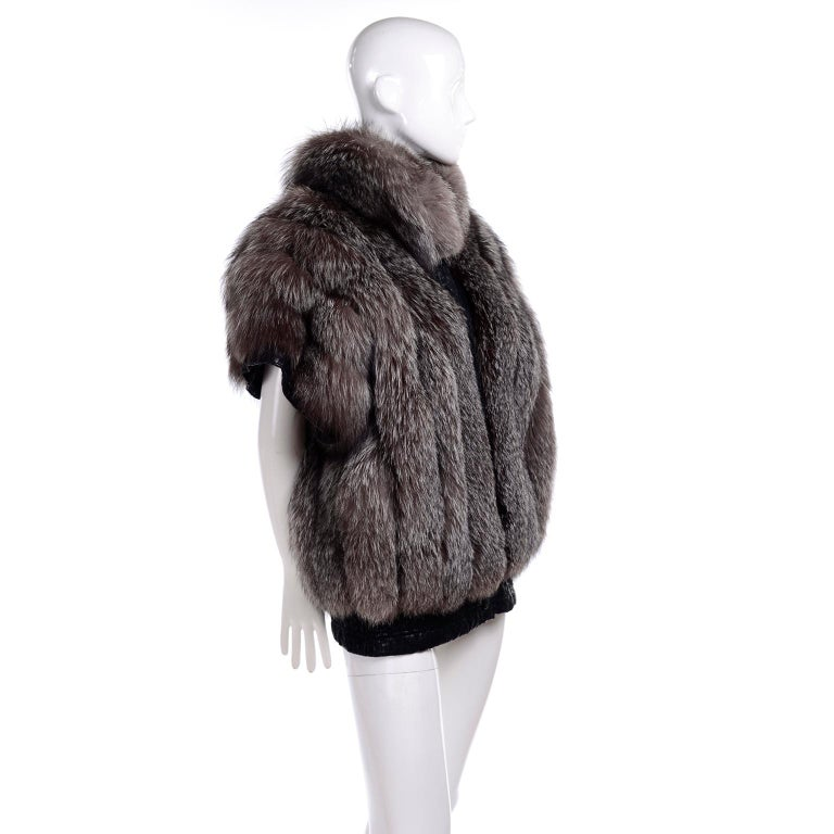 Vintage Saga Fox Gray Fur Jacket W Removable Black Ostrich Leather Sleeves For Sale 3