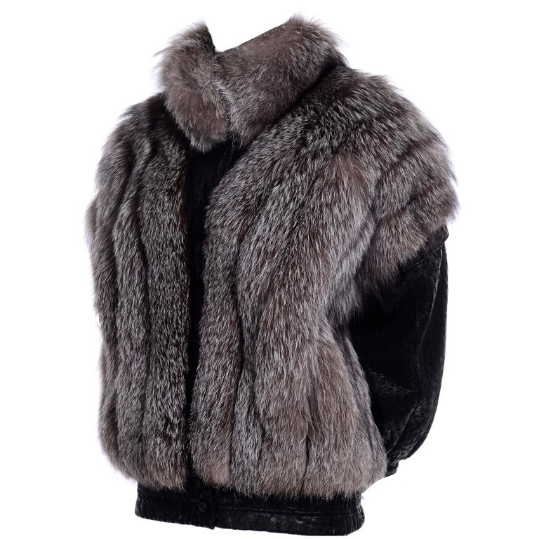 Vintage Saga Fox Gray Fur Jacket W Removable Black Ostrich Leather Sleeves For Sale 5