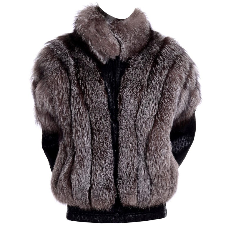 Vintage Saga Fox Gray Fur Jacket W Removable Black Ostrich Leather Sleeves For Sale