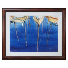 """Vintage Sailboat Watercolor Painting Boat Reflection on Water Nautical 51"""""""