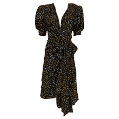 Vintage Saint Laurent Black and Yellow Print Silk Wrap Dress