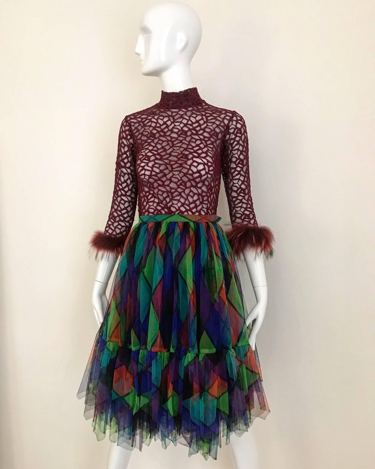 Black Vintage Saint Laurent Green and Red Harlequin Print Tulle Skirt For Sale