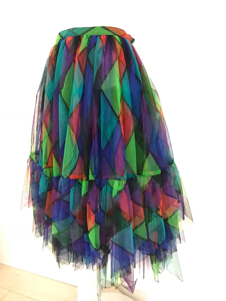 Vintage Saint Laurent Green and Red Harlequin Print Tulle Skirt In Excellent Condition For Sale In Beverly Hills, CA