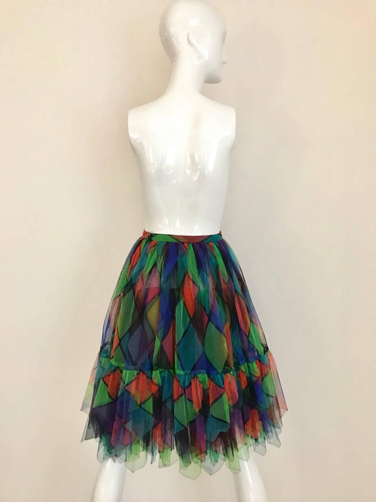 Women's Vintage Saint Laurent Green and Red Harlequin Print Tulle Skirt For Sale