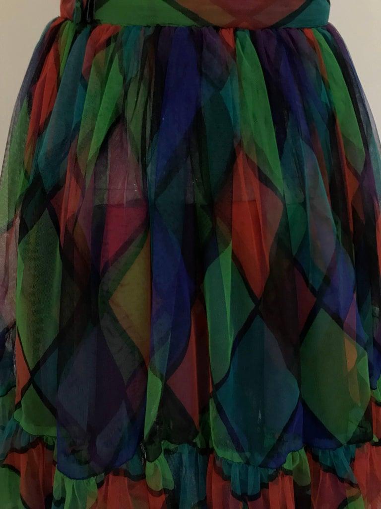 Vintage Saint Laurent Green and Red Harlequin Print Tulle Skirt For Sale 1