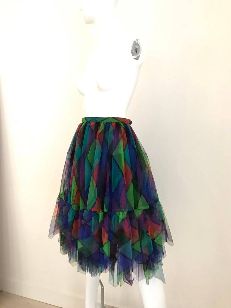 Vintage Saint Laurent Green and Red Harlequin Print Tulle Skirt For Sale 2