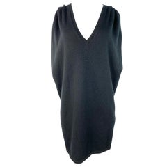 Vintage Saint Laurent Paris Black Knit Vest Dress, Size L