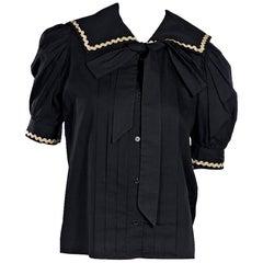 Vintage Saint Laurent Rive Gauche Bow-Accented Blouse