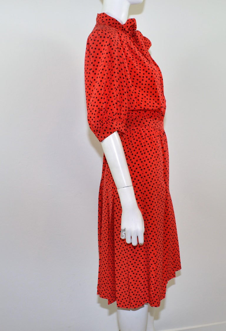 Red Vintage Saint Laurent Rive Gauche Polka-Dot Pleated Dress with Neck Tie For Sale