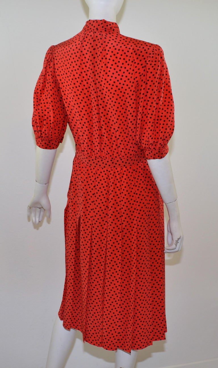 Vintage Saint Laurent Rive Gauche Polka-Dot Pleated Dress with Neck Tie In Excellent Condition For Sale In Carmel by the Sea, CA