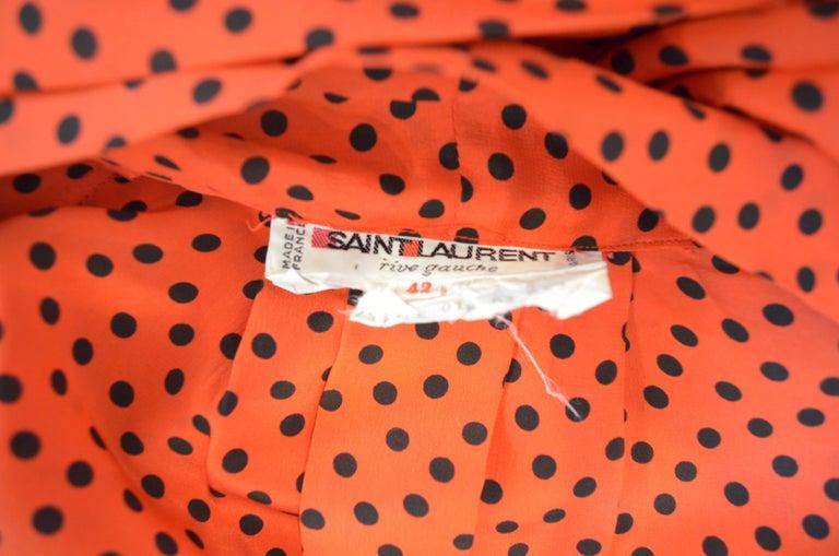 Women's Vintage Saint Laurent Rive Gauche Polka-Dot Pleated Dress with Neck Tie For Sale