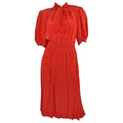 Vintage Saint Laurent Rive Gauche Polka-Dot Pleated Dress with Neck Tie