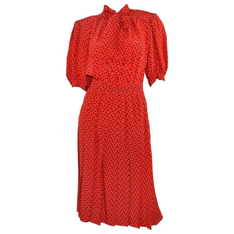 Vintage Saint Laurent Rive Gauche Polka-Dot Pleated Dress with Neck Tie For Sale