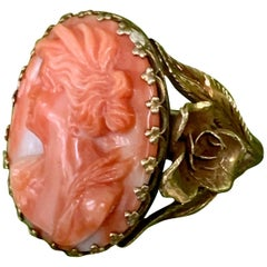 Vintage Salmon Coral and 14 Karat Yellow Gold Cameo, 5 3/4
