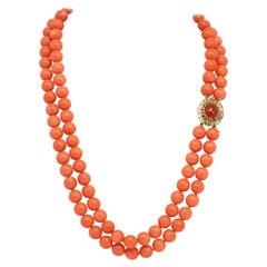 Vintage Salmon Coral Bead Double Strand Necklace, 14 Karat Yellow Gold Clasp