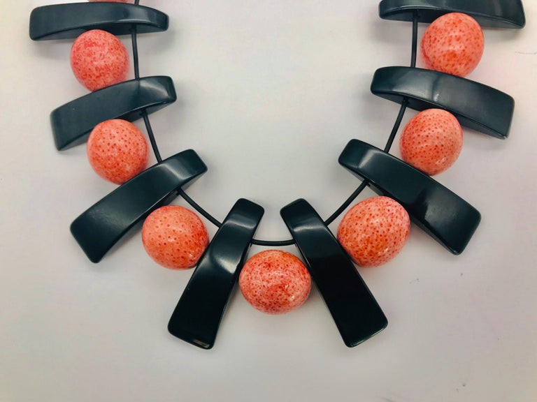 Contemporary Vintage Salmon Coral, Black Lucite beads, up-cycled Necklace, by Sylvia Gottwald For Sale