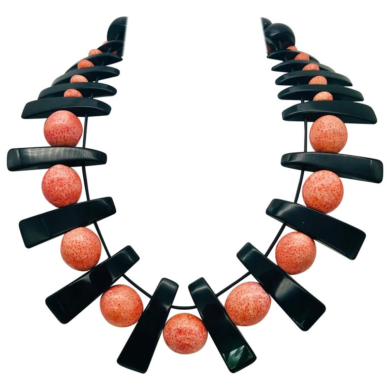 Vintage Salmon Coral, Black Lucite beads, up-cycled Necklace, by Sylvia Gottwald For Sale