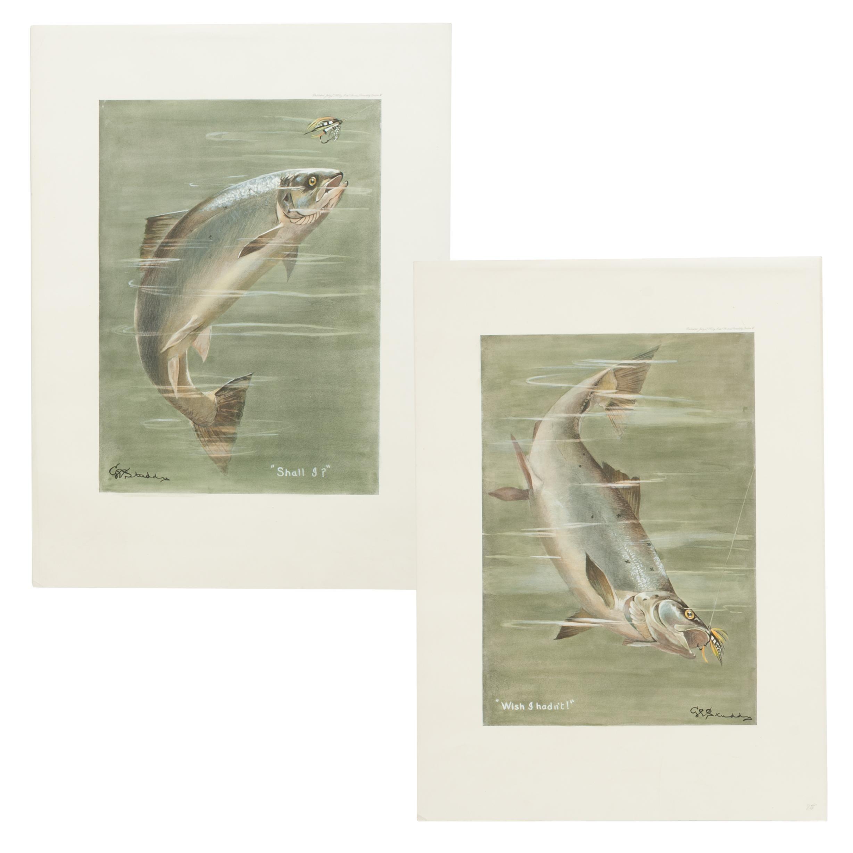 Vintage Salmon Fishing Prints by G. Studdy, Shall I & Wish I Hadn't
