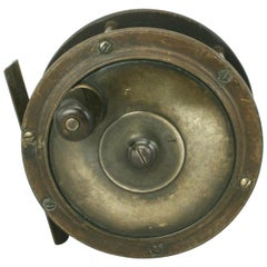 Vintage Salmon Fly Fishing Reel with Brass and Bakelite Face