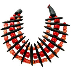 Vintage Salmon/ Red Coral and Resin in Statement Necklace, by Sylvia Gottwald