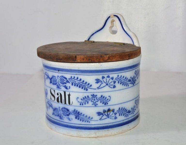 North American Vintage Salt Canister for Hanging For Sale