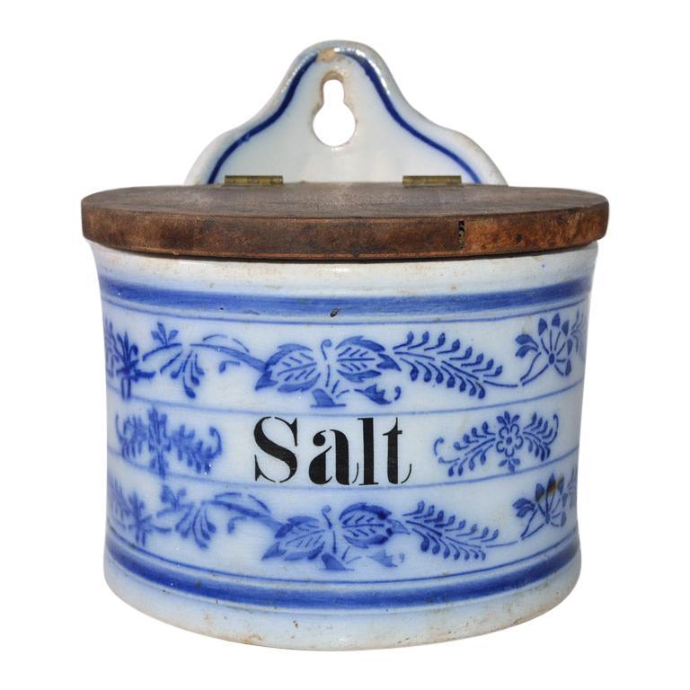 Vintage Salt Canister for Hanging For Sale